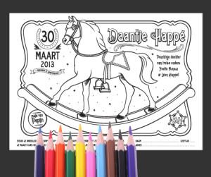 Kleurplaat, design, geboortekaartje