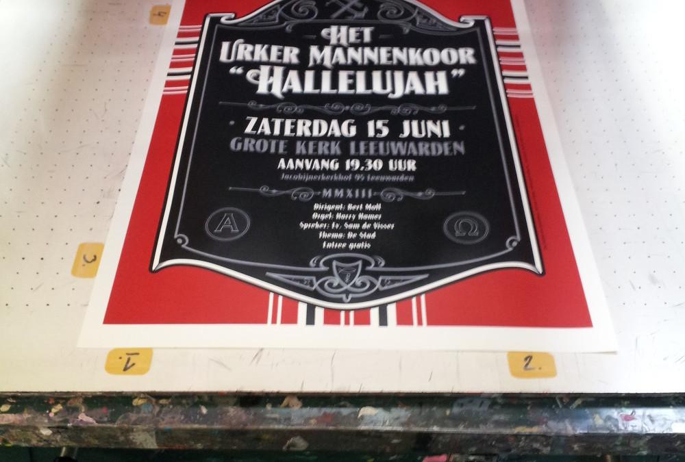 Zeefdruk poster van het Urker Mannenkoor!